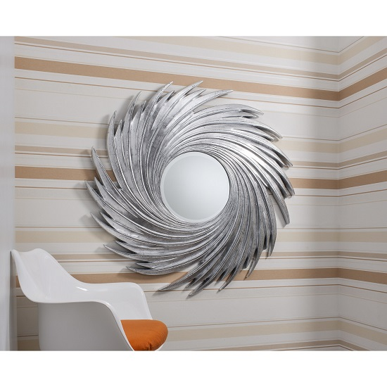 Ealham Whirlwind Wall Mirror In High Gloss Silver_3