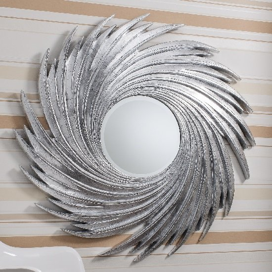 Ealham Whirlwind Wall Mirror In High Gloss Silver_4