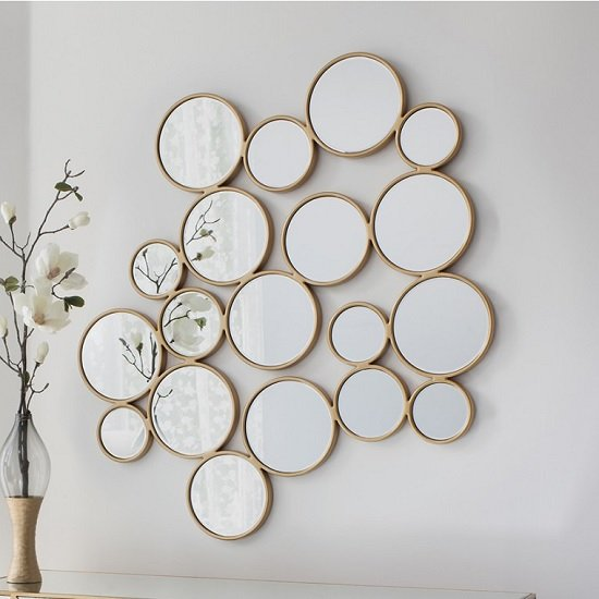 Athlone Contemporary Wall Mirror Bubbles In Soft Gold Frame