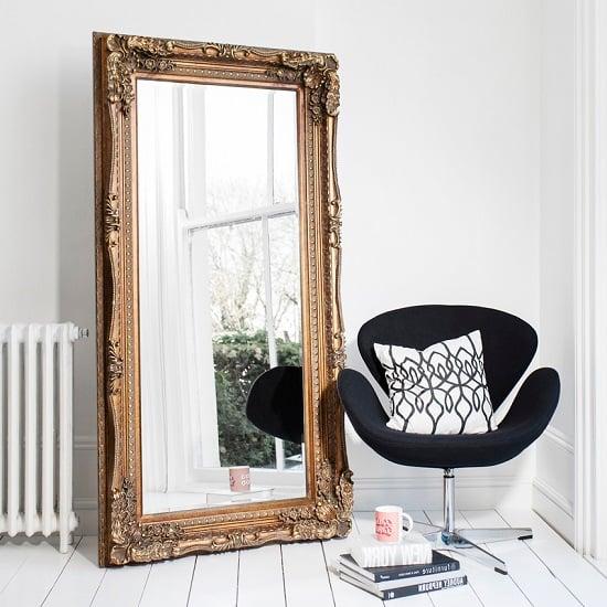 Luxembourg Baroque Style Floor Mirror Rectangular In Gold