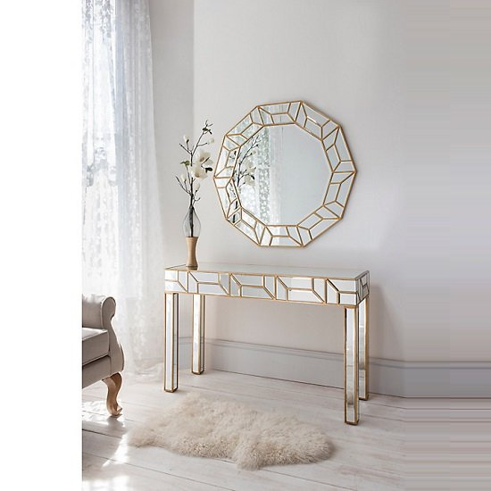 Penrith Modern Wall Mirror Decagon In Painted Gold_3