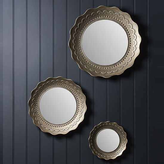 Grimsby Decorative Trio Wall Mirror Round In Pale Gold