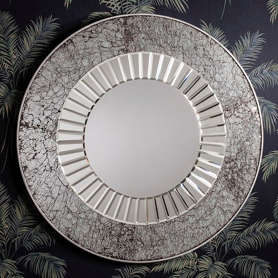 Bradford Mosaic Wall Mirror In All Glass With Silver Frame