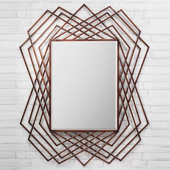 Geometric Wall Mirror spectre geometric wall mirror in burnished copper 26931