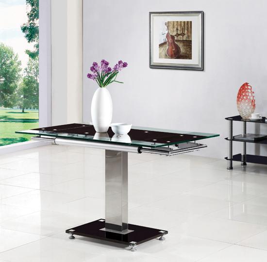 Enke Extending Dining Table In Black Glass And Chrome