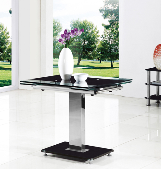 Enke Extending Dining Table In Black Glass And Chrome 8427 : Gami Ext Table blk setting from www.furnitureinfashion.net size 519 x 542 jpeg 42kB