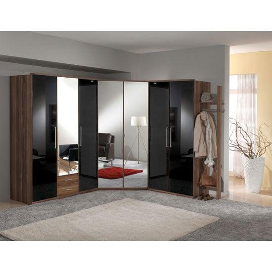 Gastineau Wardrobe In Walnut And Black Gloss With Mirror Doors