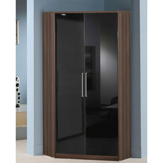 Gastineau Corner Wardrobe In Walnut With Gloss Black 2 Door