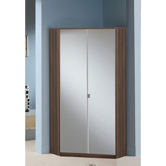Gastineau Corner Wardrobe In Walnut With 2 Mirrored Doors