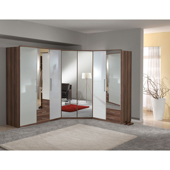 gastineau wardrobe in walnut and white gloss with mirror door