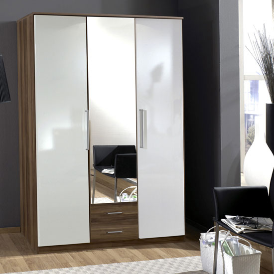 Gastineau 3 Door Wardrobe In Walnut With Mirror And 2 Drawers