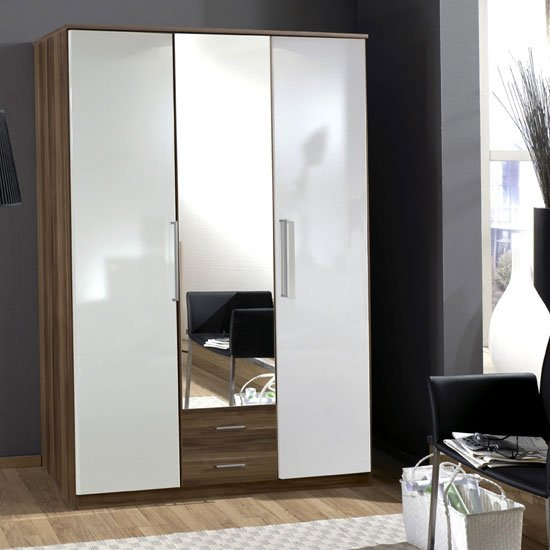 Gastineau 3 Door Wardrobe In Walnut With Mirror And 2