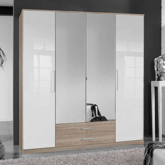 Gastineau 4 Door Wardrobe In Oak With Mirrors And Drawers