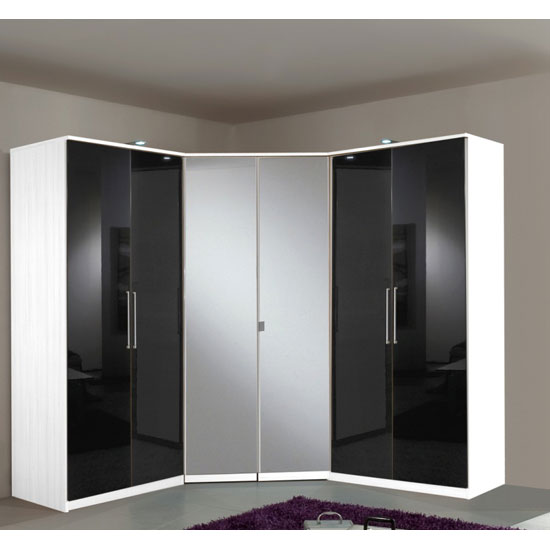 Gastineau Corner Wardrobe In Alpine White With 2 Mirror