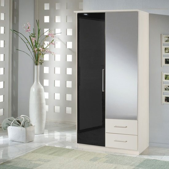 Gastineau 2 Door Wardrobe In Alpine White With Mirror And Drawer