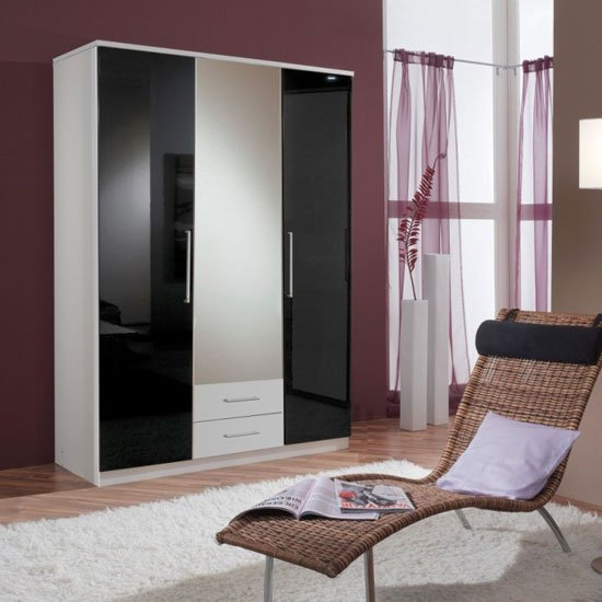 Photo of Gastineau wardrobe in alpine white with 2 drawer and mirror