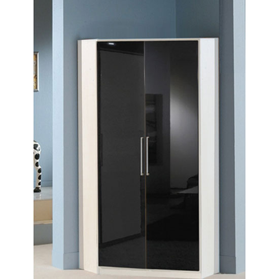 Gastineau Corner Wardrobe In Alpine White With Gloss Black Doors