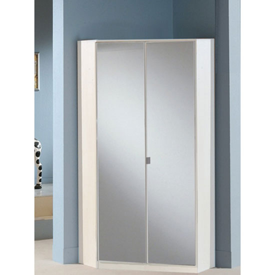Gastineau Corner Wardrobe In Alpine White With Mirrored Doors