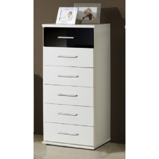 Gastineau Chest Of Drawers In White And Black With 6 Drawers