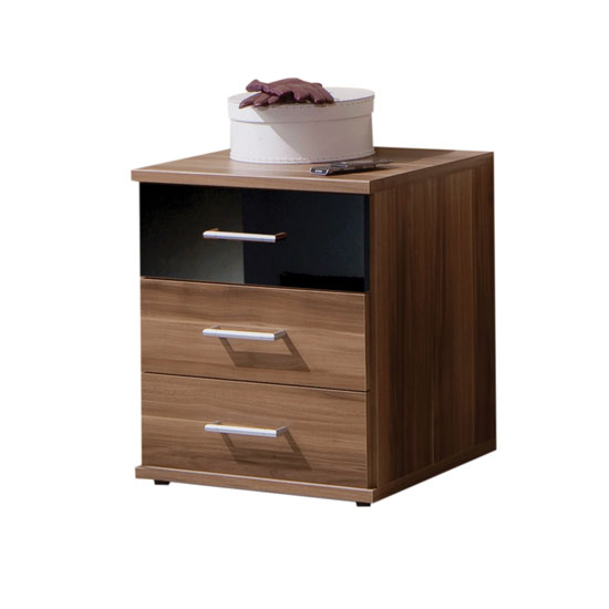Gastineau 3 Drawer Bedside Cabinet In Walnut And Black 9496