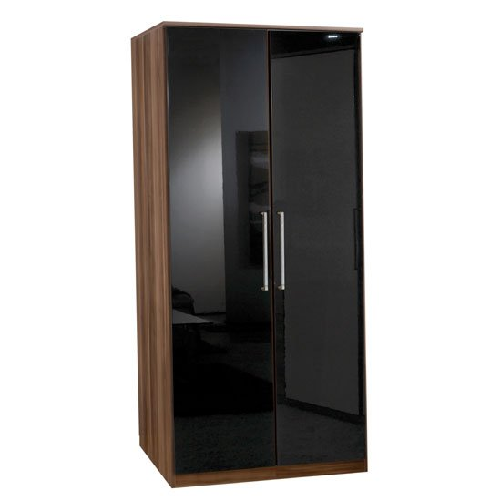 Gastineau 2 Door Wardrobe In Walnut And Black