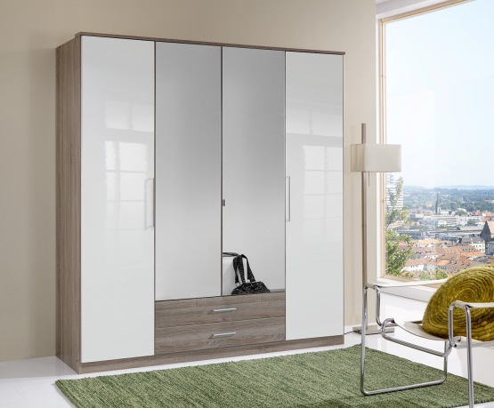 Gastineau 2 Drawer 4 Doors Wardrobe With Mirrors In Oak