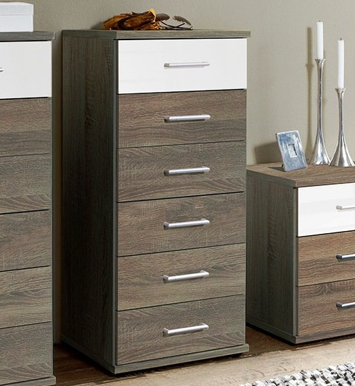 Gastineau 6 Drawers Tall Chest In Oak And White