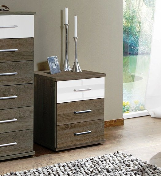 Gastineau Bedside Cabinets in Montana Oak And White