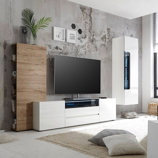 Genie Wide TV Stand In High Gloss White With LED Lighting_3