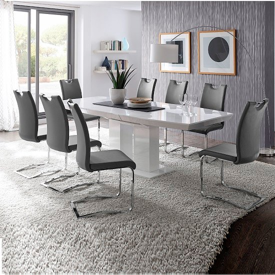 Buy cheap Leather chrome dining chairs compare Tables  : Genismowhitewithgrey6kolnchairs from lieutenant.priceinspector.co.uk size 550 x 550 jpeg 179kB