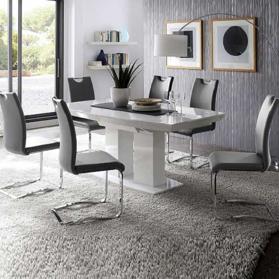 Good Genisimo High Gloss Dining Table With 6 Grey Koln Chairs Part 16