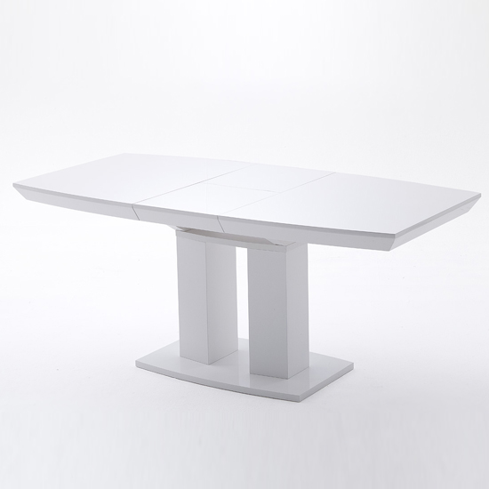 Genisimo extendable pedestal dining table in high gloss - High gloss extending dining table ...