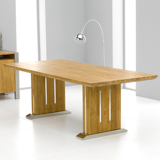 Cagliari Chromed Metal And Oak Dining Table Only