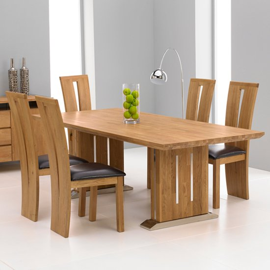 Cagliari Oak Dining Table And 6 Arizona Dining Chairs 13378 – Oak Dining Chair