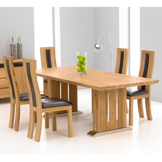Cagliari oak dining table and 6 havana dining chairs 13366 for Dining room tables 6 seater