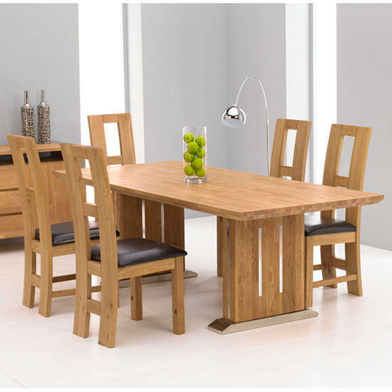 Cagliari Oak Dining Table And 6 Louis Dining Chairs