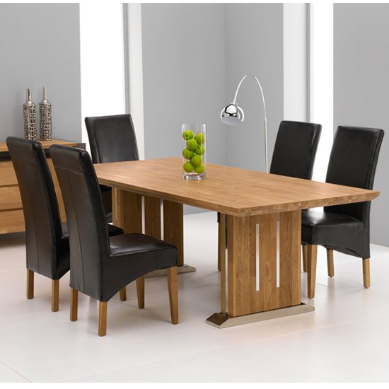 Cagliari Oak Dining Table Set With 6 Roma Dining Chairs