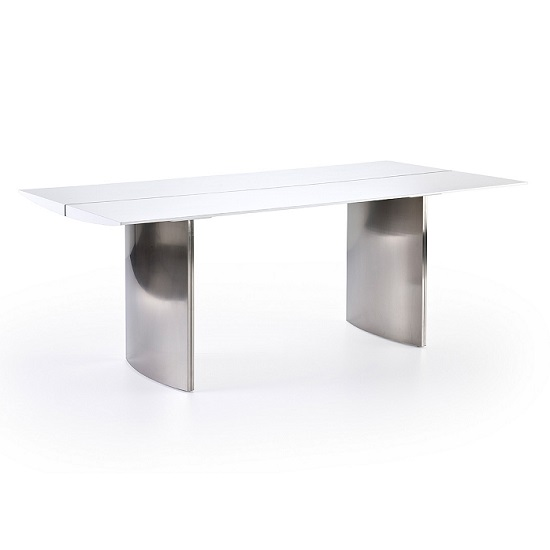 Meryl Dining Table In Matt White With Brushed Steel Legs