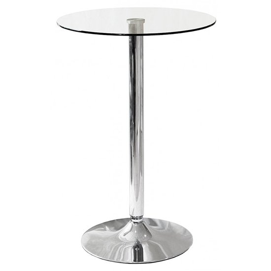 Gino Bistro Bar Table In Clear Glass With Chrome Base
