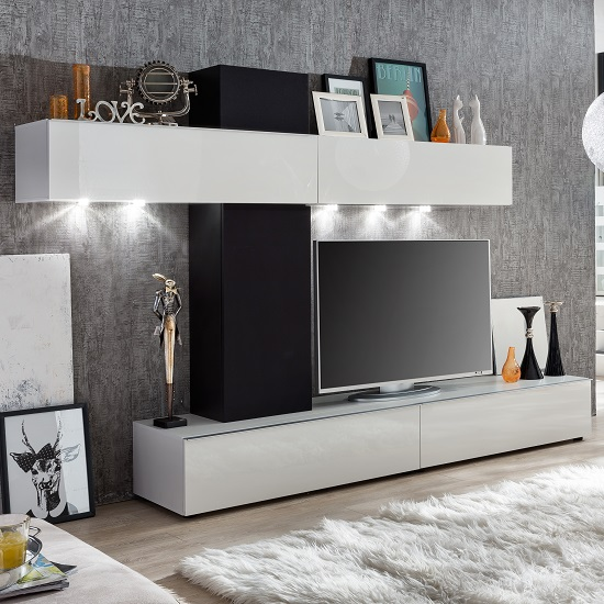 Bremen Living Room Wall Unit In White Gloss And Black With