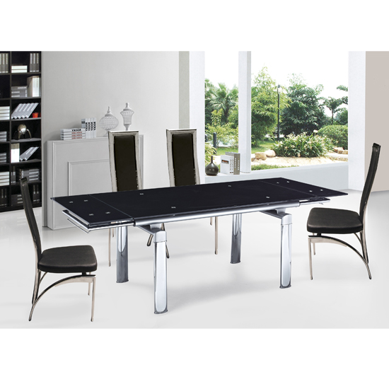 Ella Glass Extending Dining Table With 6 Dining Chairs