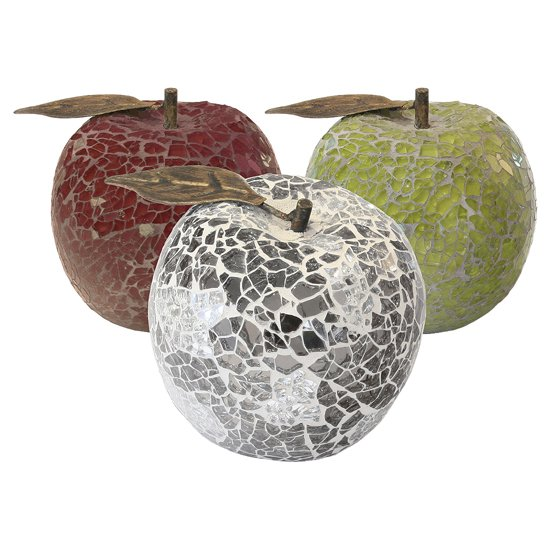 Apple Sculpture In Mirrored Glass Mosaic