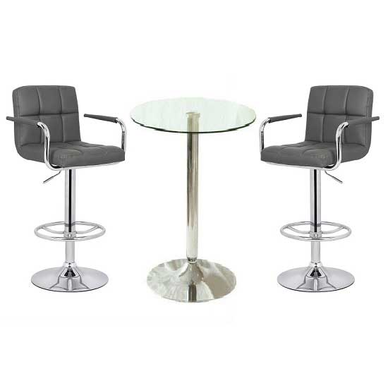 Gino Glass Bar Table With 2 Glenn Bar Stools In Grey_1