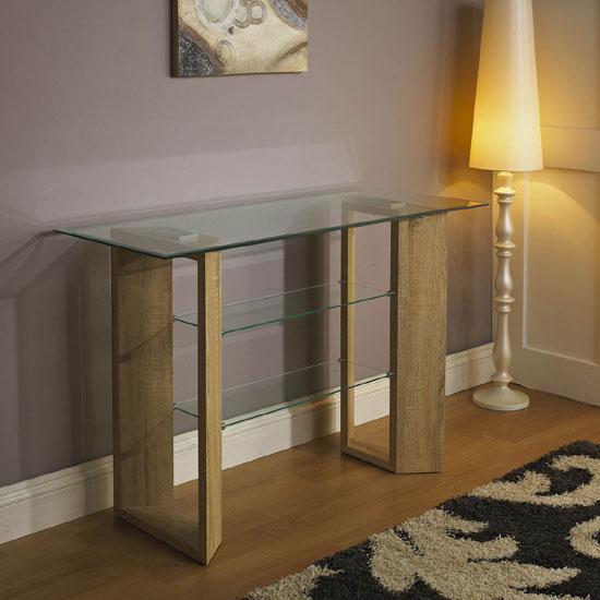 Polo Sonoma Oak Finish Clear Glass Top Console Table
