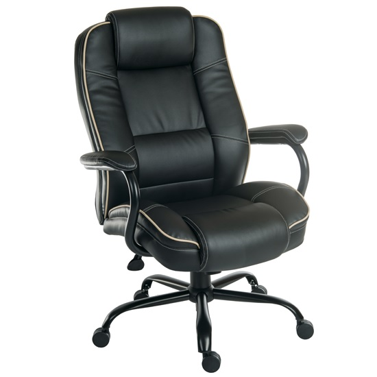 Dunham Home Office Chair In Black With Chrome Base And Castors
