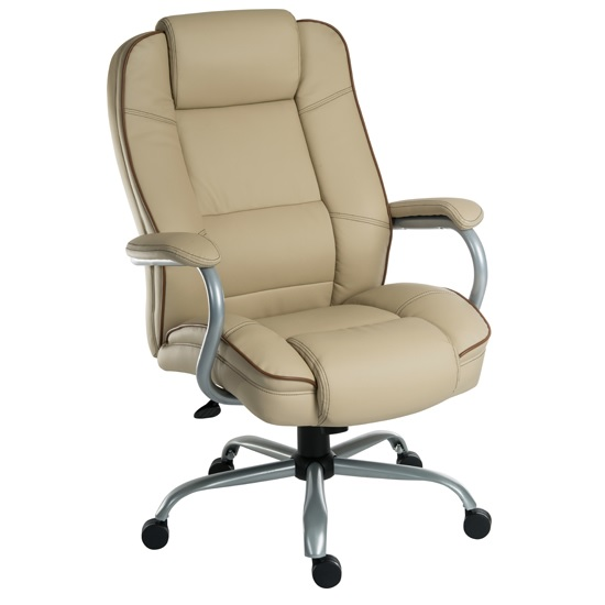 Dunham Home Office Chair In Cream With Chrome Base And Castors