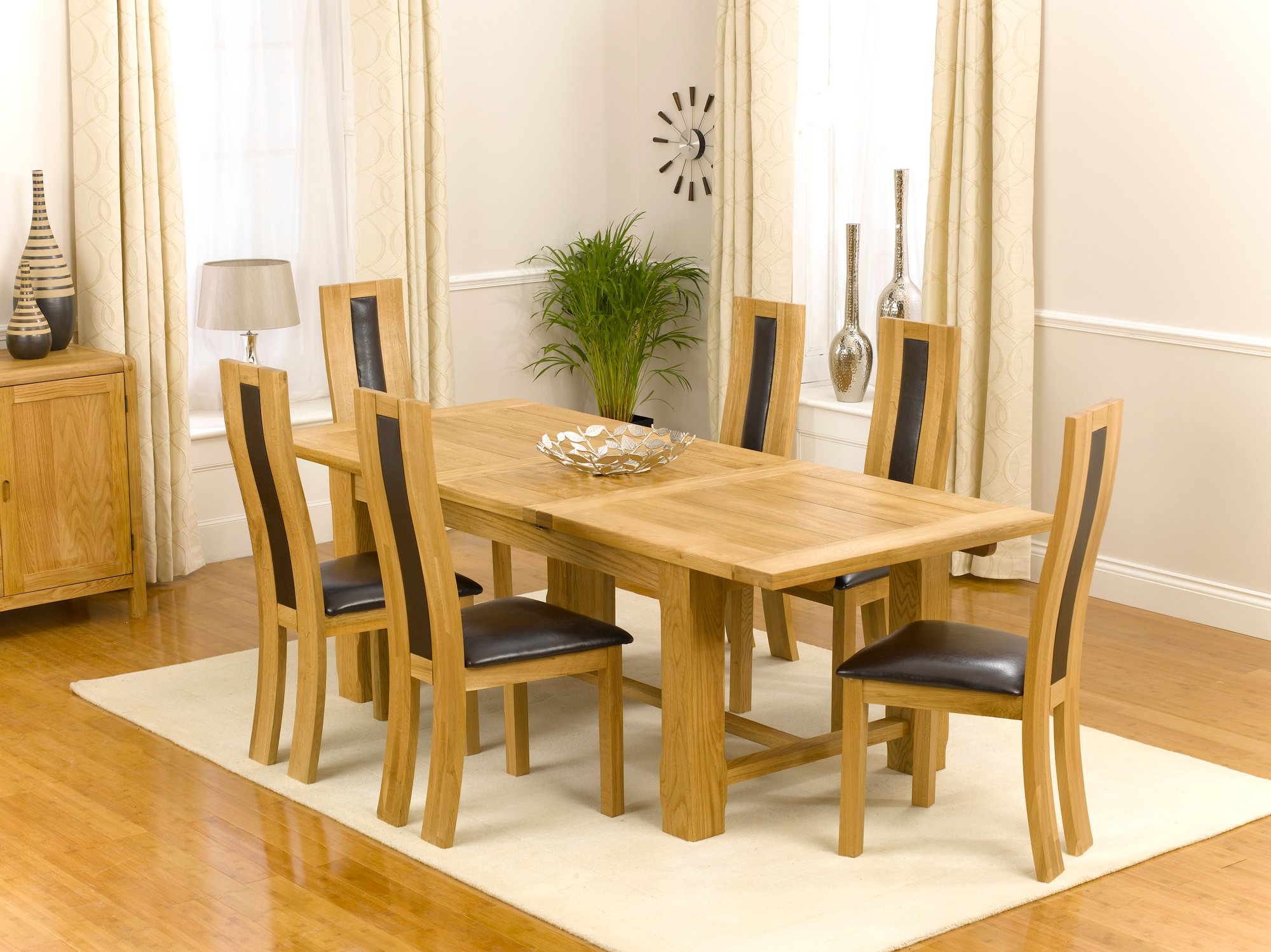 Farmhouse Extending Oak Dining Table With 6 Roma Chairs Buy Modern Wooden D