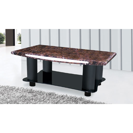 Milio Black Marble Effect Coffee Table With Glass Undershelf