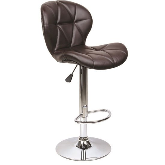Classy Brown Bar Stool With Chrome Base