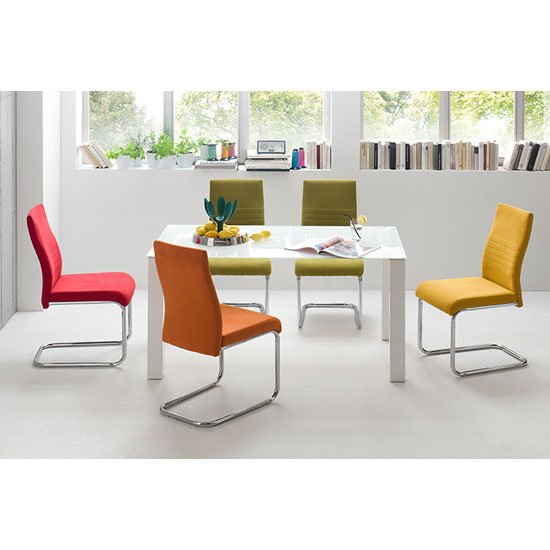 Hanna Rectangular Frosted Glass Dining Table With 4 Jonas Chair